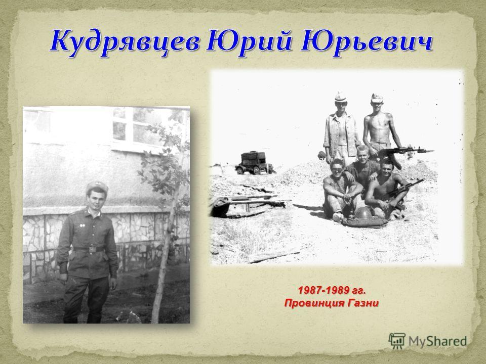 1987-1989 гг. Провинция Газни
