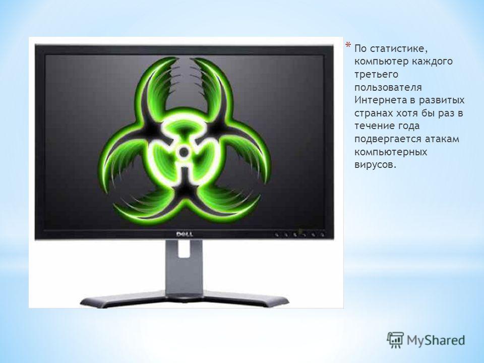 * По статистике, компьютер каждого третьего пользователя Интернета в развитых странах хотя бы раз в течение года подвергается атакам компьютерных вирусов.