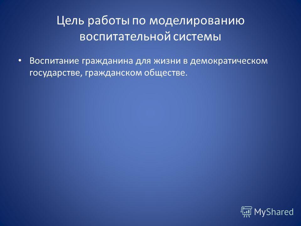 Цель работы по моделированию воспитательной системы Воспитание гражданина для жизни в демократическом государстве, гражданском обществе.