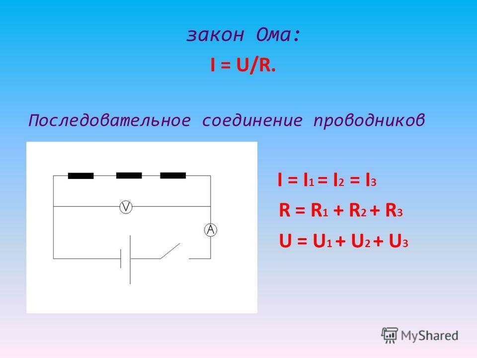 закон Ома: I = U/R. Последовательное соединение проводников I = I 1 = I 2 = I 3 R = R 1 + R 2 + R 3 U = U 1 + U 2 + U 3