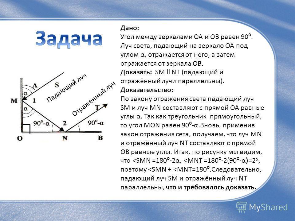 Дано: Угол между зеркалами ОА и ОВ равен 90. Луч света, падающий на зеркало ОА под углом α, отражается от него, а затем отражается от зеркала ОВ. Доказать: SM ll NT (падающий и отражённый лучи параллельны). Доказательство: По закону отражения света п