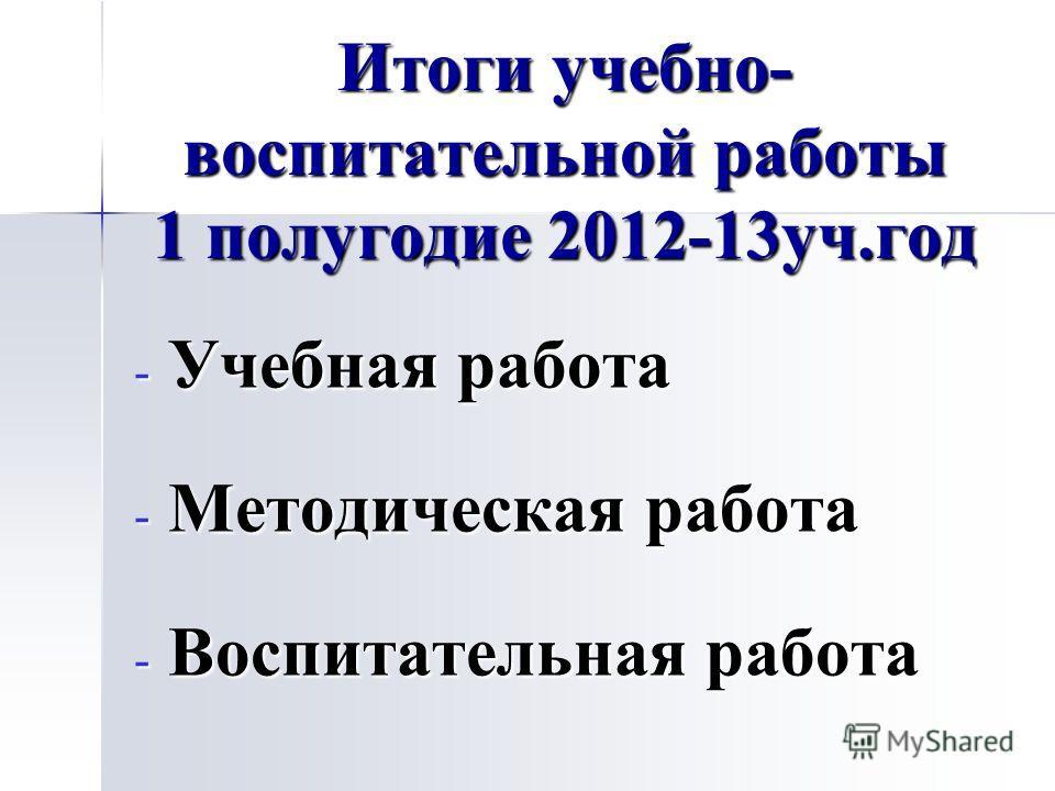 Итоги учебно- воспитательной работы 1 полугодие 2012-13уч.год - Учебная работа - Методическая работа - Воспитательная работа