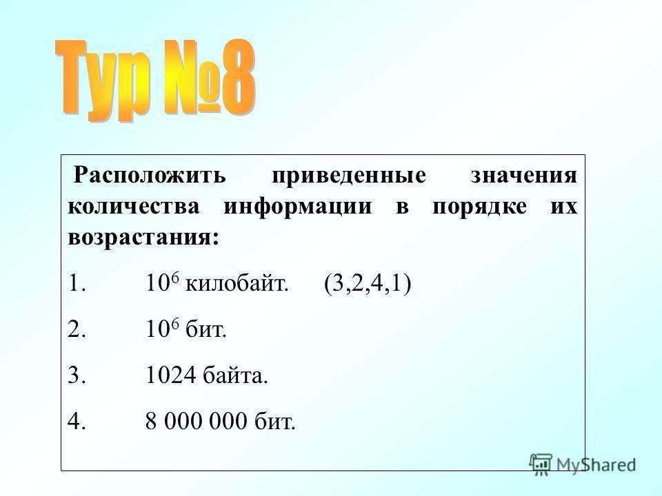 Расположить приведенные значения количества информации в порядке их возрастания: 1. 10 6 килобайт. (3,2,4,1) 2. 10 6 бит. 3. 1024 байта. 4. 8 000 000 бит.