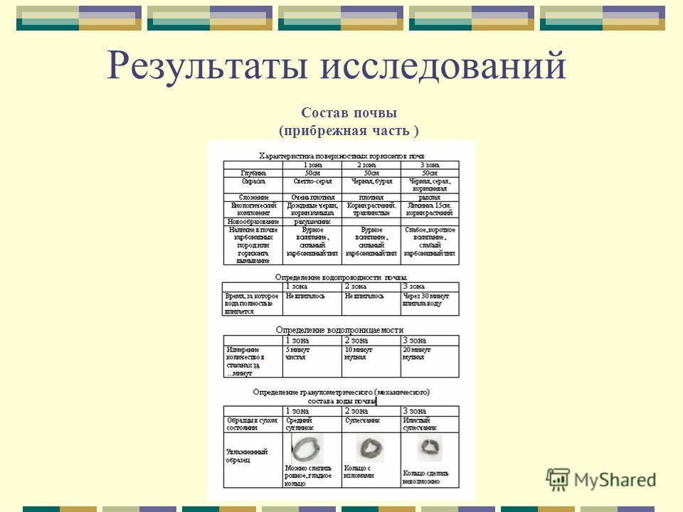 Результаты исследований Состав почвы (прибрежная часть )
