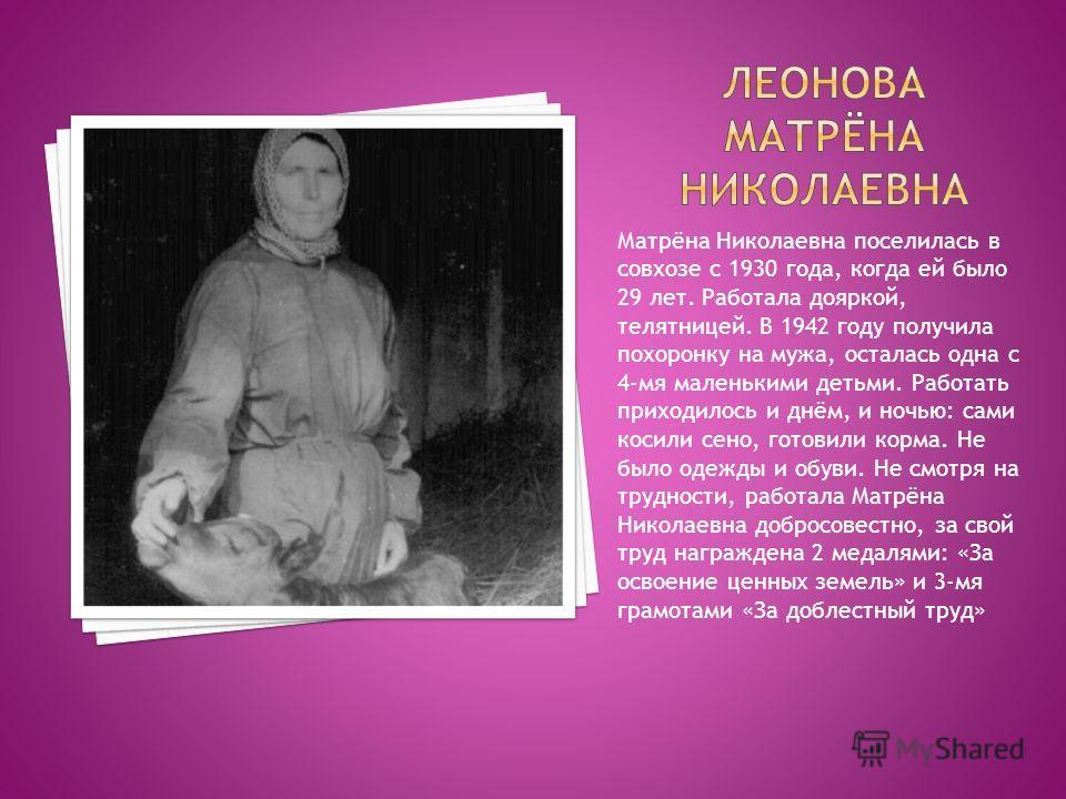 Матрёна Николаевна поселилась в совхозе с 1930 года, когда ей было 29 лет. Работала дояркой, телятницей. В 1942 году получила похоронку на мужа, осталась одна с 4-мя маленькими детьми. Работать приходилось и днём, и ночью: сами косили сено, готовили