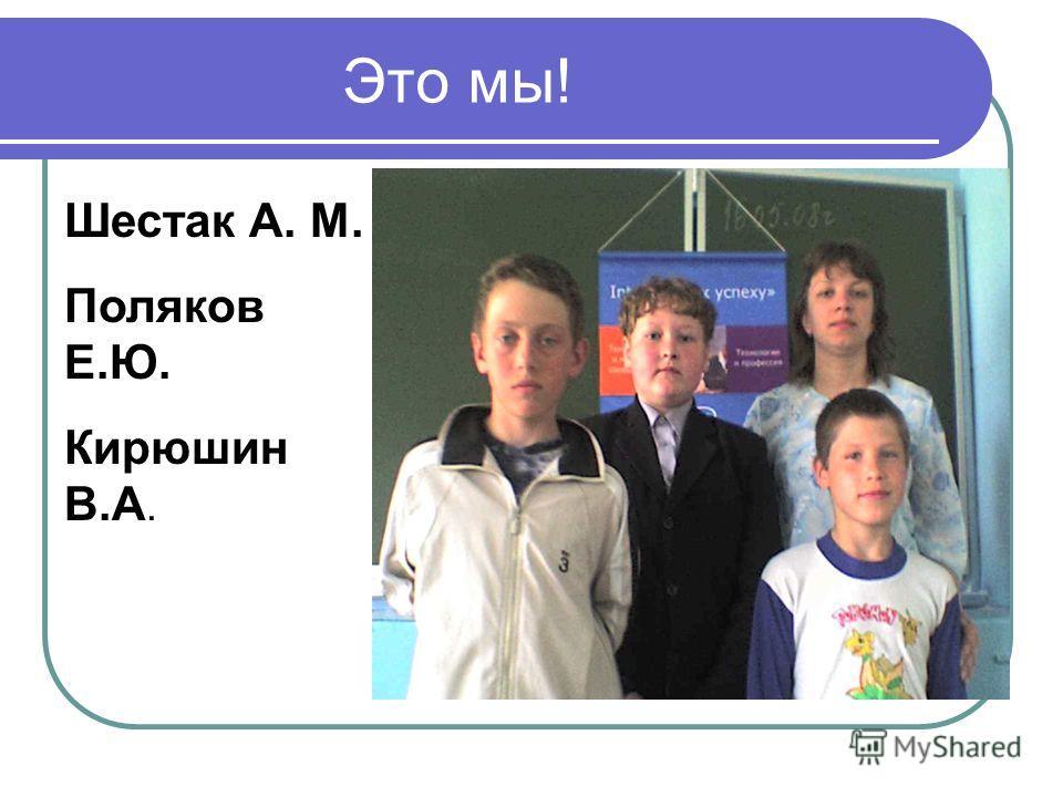 Это мы! Шестак А. М. Поляков Е.Ю. Кирюшин В.А.