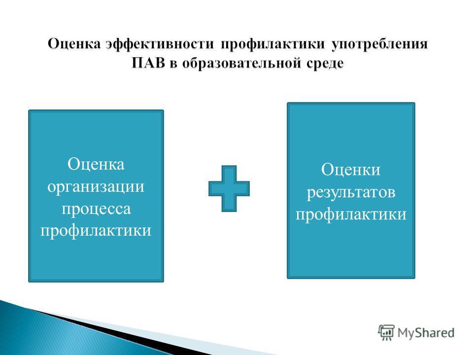 Оценка организации процесса профилактики Оценки результатов профилактики