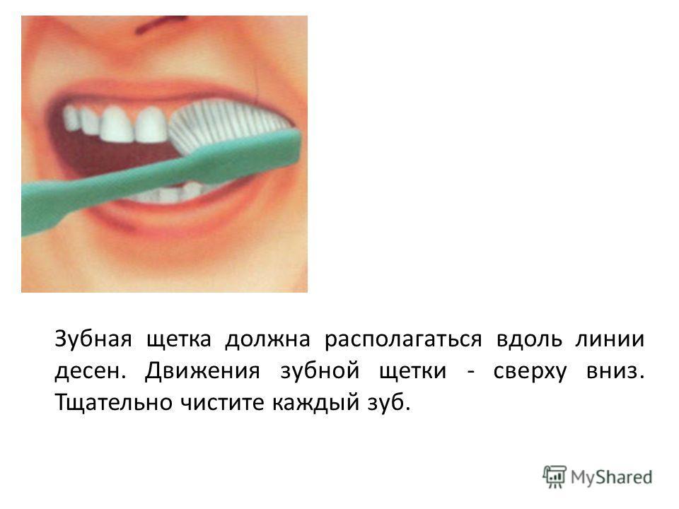 Зубная щетка должна располагаться вдоль линии десен. Движения зубной щетки - сверху вниз. Тщательно чистите каждый зуб.