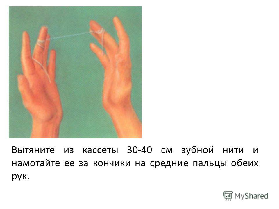 Вытяните из кассеты 30-40 см зубной нити и намотайте ее за кончики на средние пальцы обеих рук.