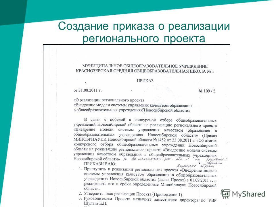 Создание приказа о реализации регионального проекта