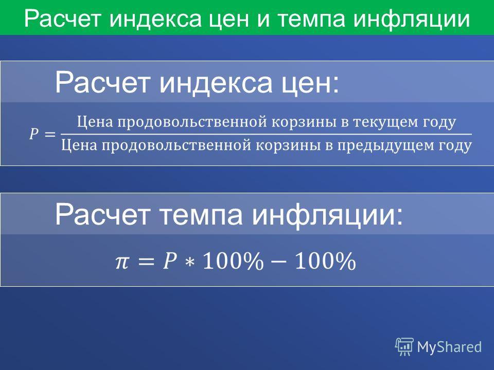 Расчет индекса цен и темпа инфляции Расчет индекса цен: Расчет темпа инфляции: