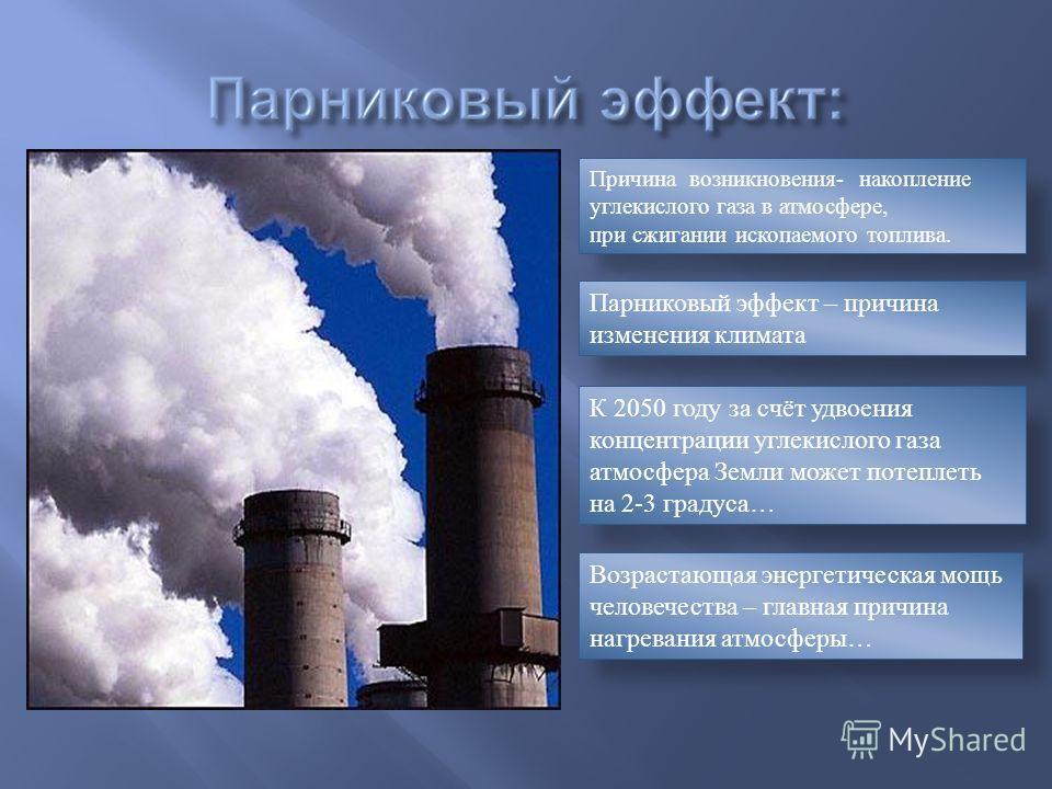 Причина возникновения- накопление углекислого газа в атмосфере, при сжигании ископаемого топлива. К 2050 году за счёт удвоения концентрации углекислого газа атмосфера Земли может потеплеть на 2-3 градуса… Возрастающая энергетическая мощь человечества