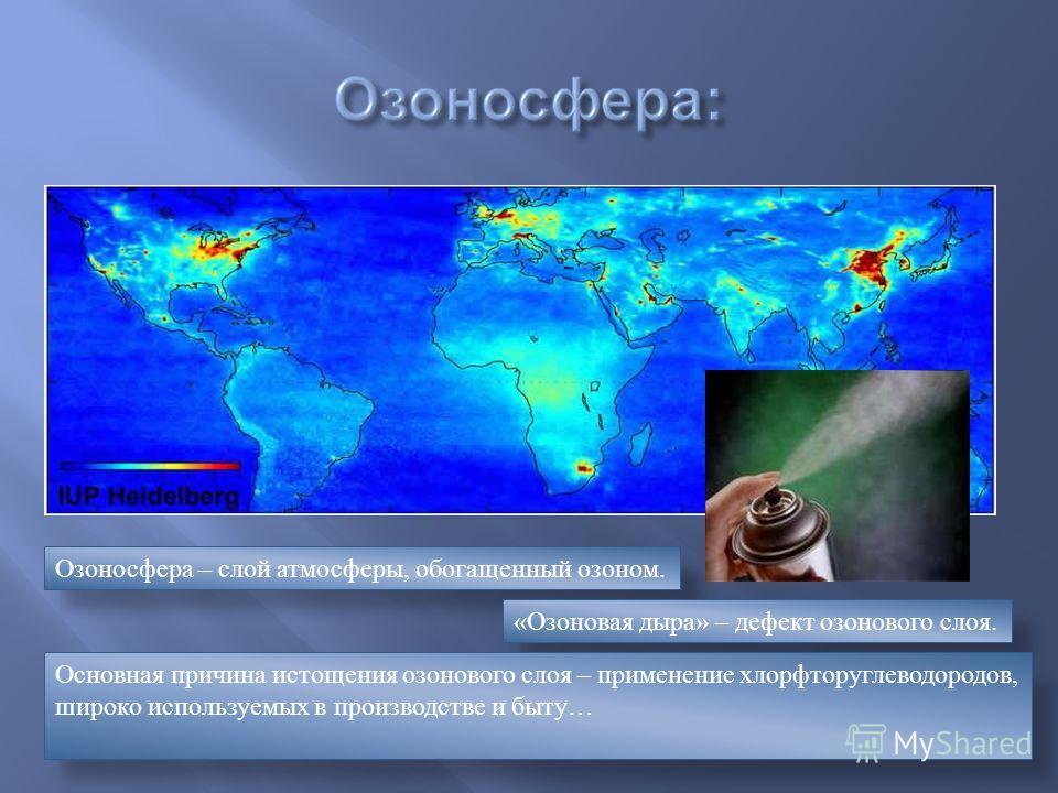 Озоносфера – слой атмосферы, обогащенный озоном. «Озоновая дыра» – дефект озонового слоя. Основная причина истощения озонового слоя – применение хлорфторуглеводородов, широко используемых в производстве и быту…