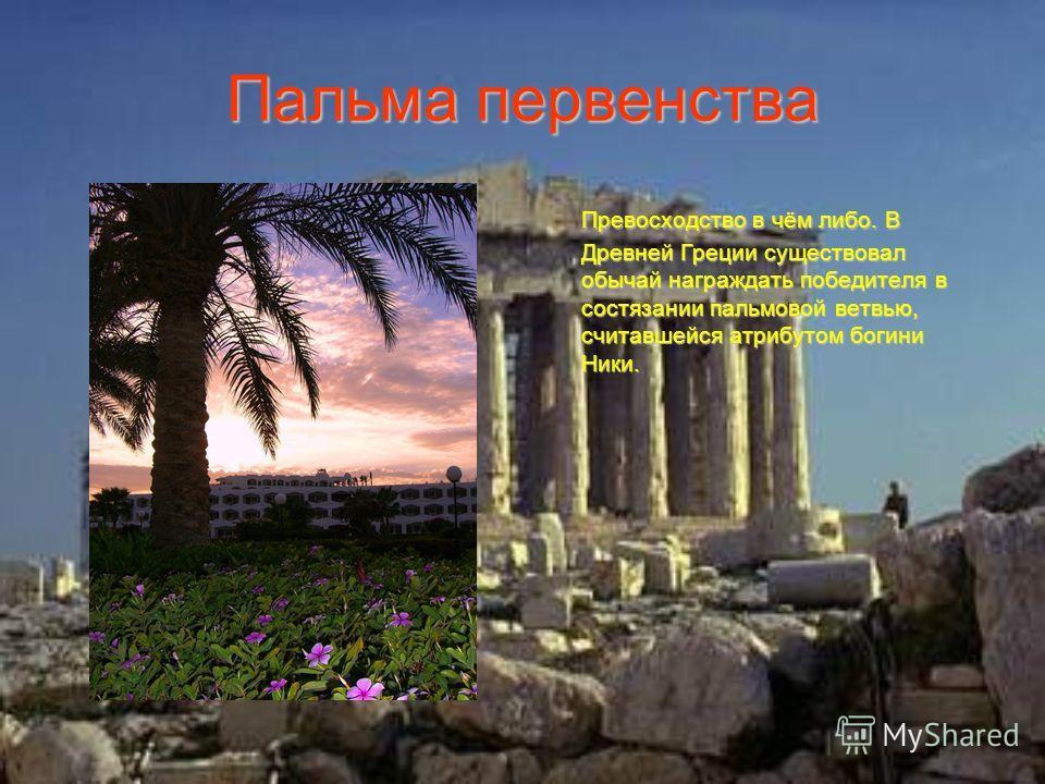 Пальма первенства Превосходство в чём либо. В Древней Греции существовал обычай награждать победителя в состязании пальмовой ветвью, считавшейся атрибутом богини Ники.