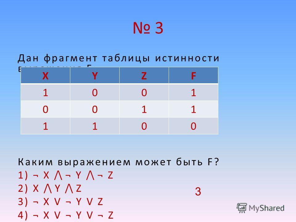 3 Дан фрагмент таблицы истинности выражения F: Каким выражением может быть F? 1) ¬ X /\ ¬ Y /\ ¬ Z 2) X /\ Y /\ Z 3) ¬ X V ¬ Y V Z 4) ¬ X V ¬ Y V ¬ Z XYZF 1001 0011 1100 3