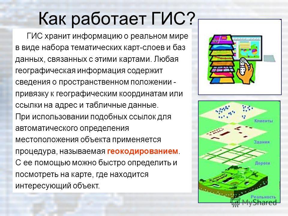 Как работает ГИС? ГИС хранит информацию о реальном мире в виде набора тематических карт-слоев и баз данных, связанных с этими картами. Любая географическая информация содержит сведения о пространственном положении - привязку к географическим координа