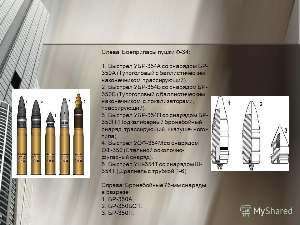 Слева: Боеприпасы пушки Ф-34: 1. Выстрел УБР-354А со снарядом БР- 350А (Тупоголовый с баллистическим наконечником, трассирующий). 2. Выстрел УБР-354Б со снарядом БР- 350Б (Тупоголовый с баллистическим наконечником, с локализаторами, трассирующий). 3.