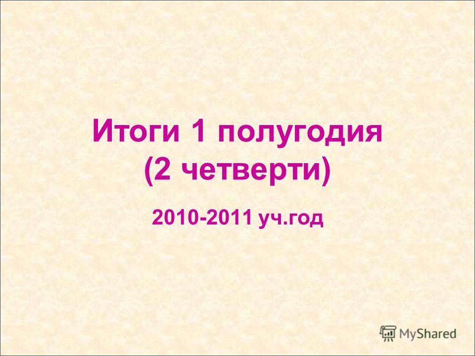 Итоги 1 полугодия (2 четверти) 2010-2011 уч.год