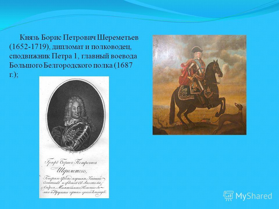 Князь Борис Петрович Шереметьев (1652-1719), дипломат и полководец, сподвижник Петра 1, главный воевода Большого Белгородского полка (1687 г.);
