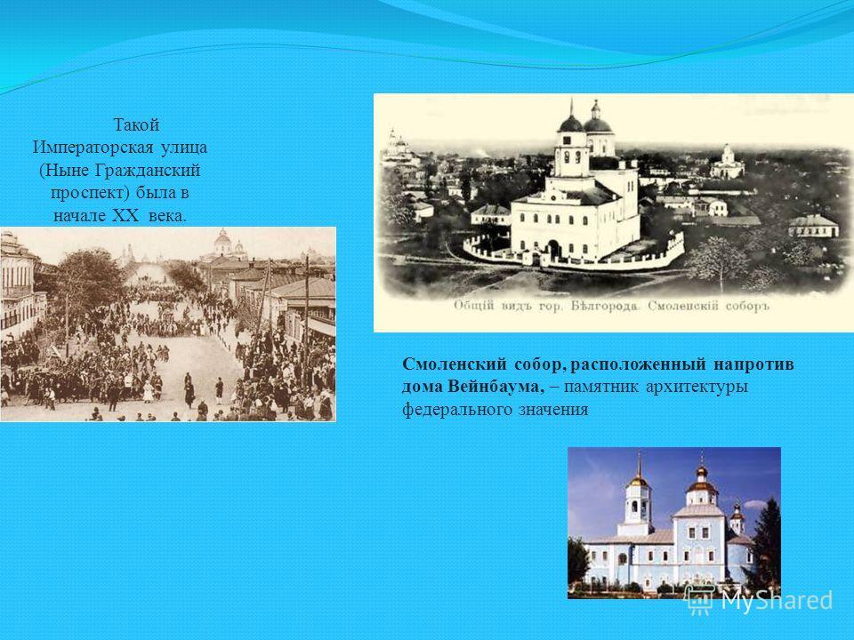Такой Императорская улица (Ныне Гражданский проспект) была в начале XX века. Смоленский собор, расположенный напротив дома Вейнбаума, – памятник архитектуры федерального значения