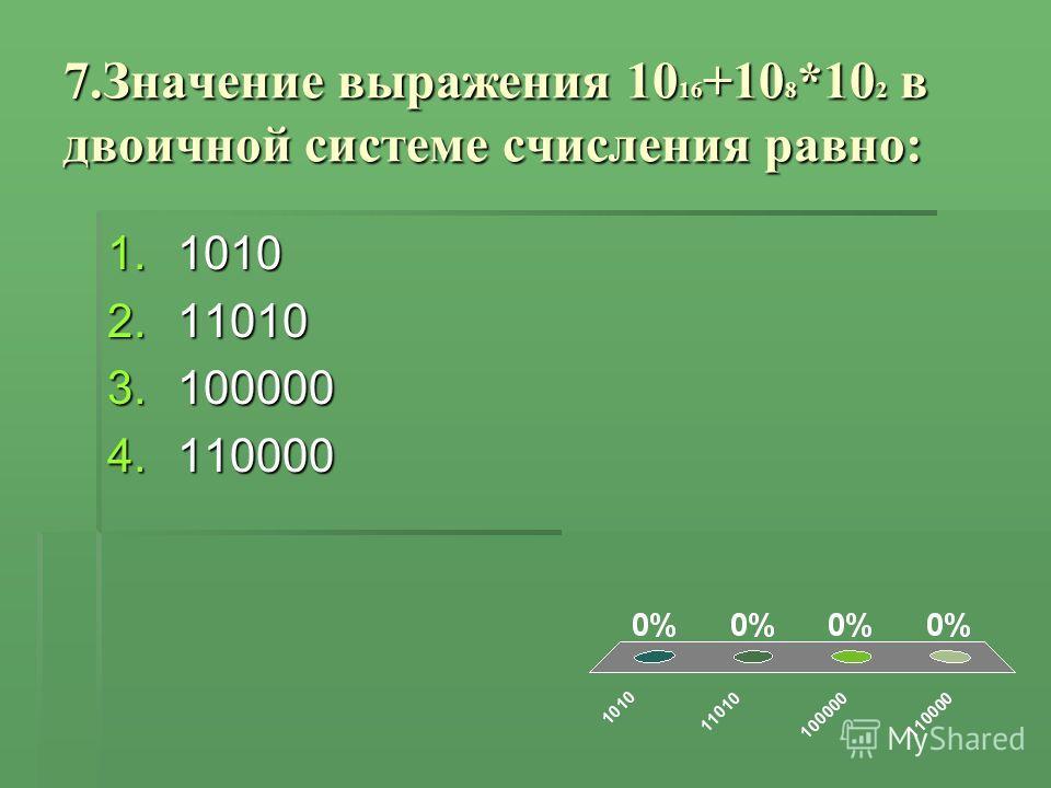7.Значение выражения 10 16 +10 8 *10 2 в двоичной системе счисления равно: 1.1010 2.11010 3.100000 4.110000