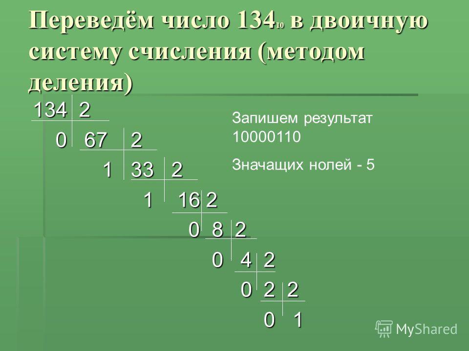 Переведём число 134 10 в двоичную систему счисления (методом деления) 134 2 0 67 2 0 67 2 1 33 2 1 33 2 1 16 2 1 16 2 0 8 2 0 8 2 0 4 2 0 4 2 0 2 2 0 2 2 0 1 0 1 Запишем результат 10000110 Значащих нолей - 5