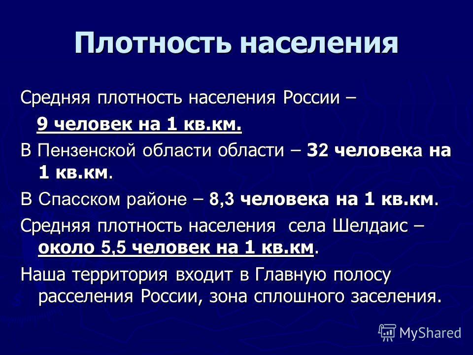Плотность населения Средняя плотность населения России – 9 человек на 1 кв.км. 9 человек на 1 кв.км. В Пензенской области области – 3 2 человек а на 1 кв.км. В Спасском районе – 8,3 человека на 1 кв.км. Средняя плотность населения села Шелдаис – окол