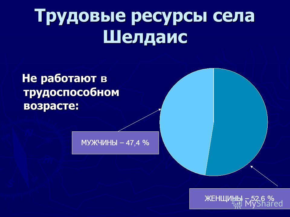 Трудовые ресурсы села Шелдаис Не работают в трудоспособном возрасте: Не работают в трудоспособном возрасте: ЖЕНЩИНЫ – 52,6 % МУЖЧИНЫ – 47,4 %