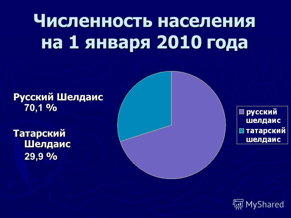 Численность населения на 1 января 2010 года Русский Шелдаис 70,1 % Татарский Шелдаис 29,9 % 29,9 %