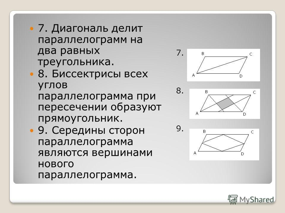 7. 8. 9. 7. Диагональ делит параллелограмм на два равных треугольника. 8. Биссектрисы всех углов параллелограмма при пересечении образуют прямоугольник. 9. Середины сторон параллелограмма являются вершинами нового параллелограмма.