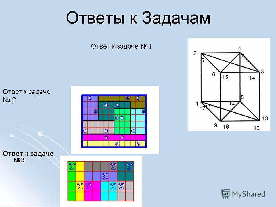 Ответы к Задачам Ответ к задаче 3 Ответ к задаче 2 Ответ к задаче 1