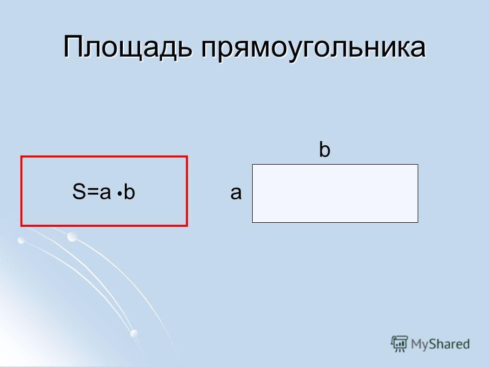 Площадь прямоугольника S=a b a b