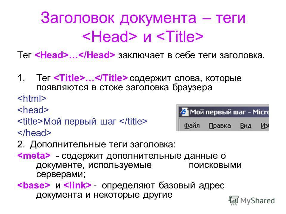 Заголовок документа – теги и Тег … заключает в себе теги заголовка. 1.Тег … содержит слова, которые появляются в стоке заголовка браузера Мой первый шаг 2. Дополнительные теги заголовка: - содержит дополнительные данные о документе, используемые поис