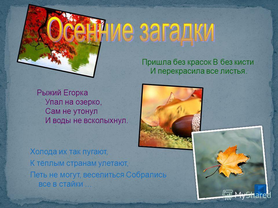 Рыжий Егорка Упал на озерко, Сам не утонул И воды не всколыхнул. Пришла без красок B без кисти И перекрасила все листья. Холода их так пугают, К тёплым странам улетают, Петь не могут, веселиться Собрались все в стайки...