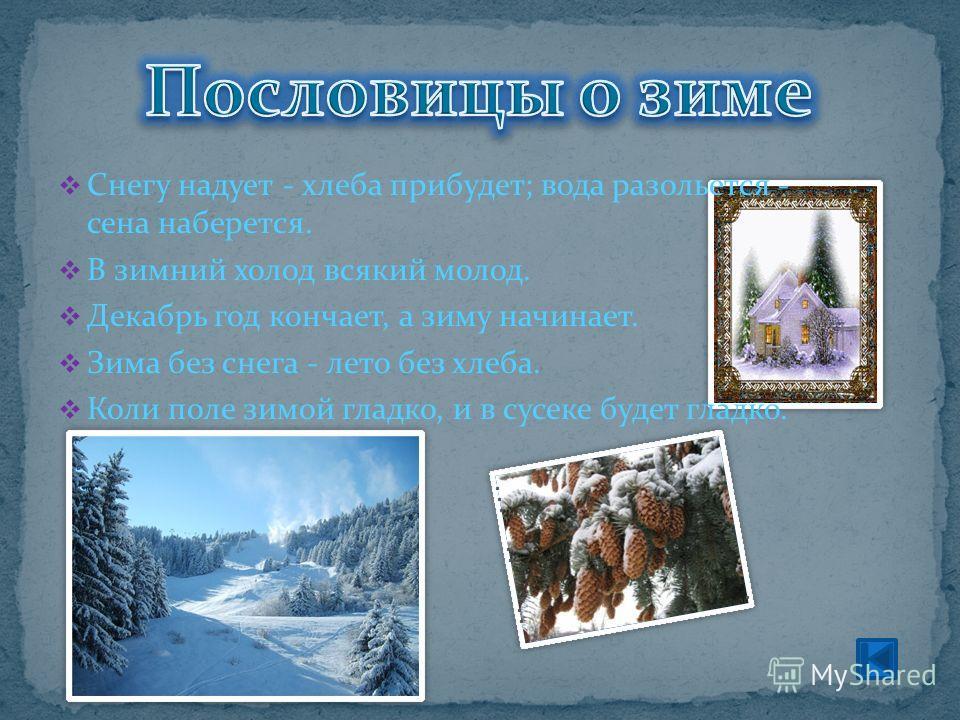 Снегу надует - хлеба прибудет; вода разольется - сена наберется. В зимний холод всякий молод. Декабрь год кончает, а зиму начинает. Зима без снега - лето без хлеба. Коли поле зимой гладко, и в сусеке будет гладко.