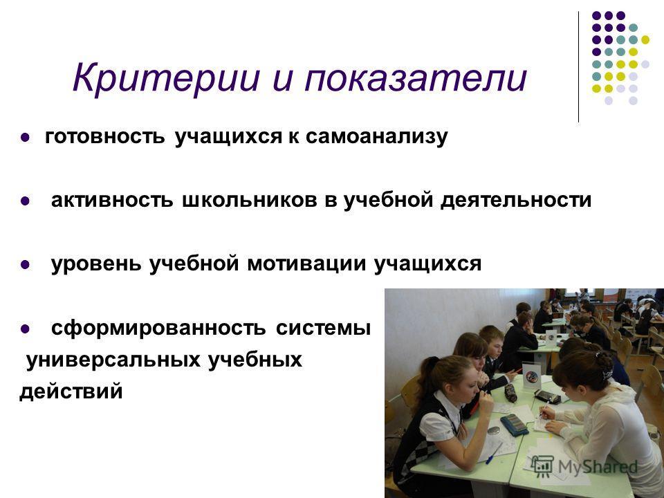 готовность учащихся к самоанализу активность школьников в учебной деятельности уровень учебной мотивации учащихся сформированность системы универсальных учебных действий Критерии и показатели