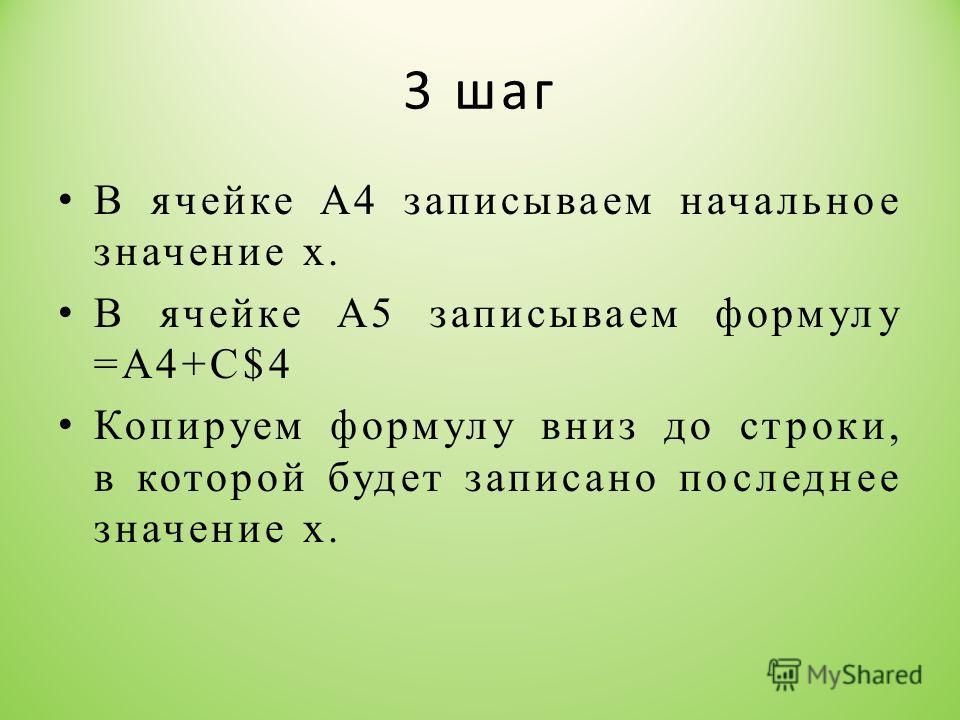 3 шаг В ячейке А4 записываем начальное значение х. В ячейке А5 записываем формулу =А4+С$4 Копируем формулу вниз до строки, в которой будет записано последнее значение х.
