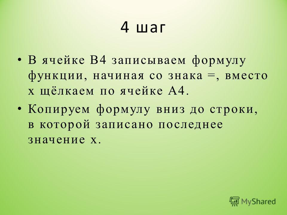 4 шаг В ячейке В4 записываем формулу функции, начиная со знака =, вместо х щёлкаем по ячейке А4. Копируем формулу вниз до строки, в которой записано последнее значение х.
