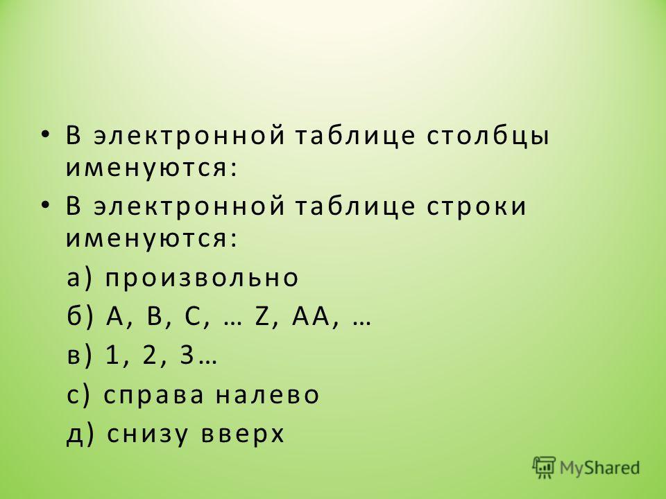 В электронной таблице столбцы именуются: В электронной таблице строки именуются: а) произвольно б) А, В, С, … Z, AA, … в) 1, 2, 3… с) справа налево д) снизу вверх