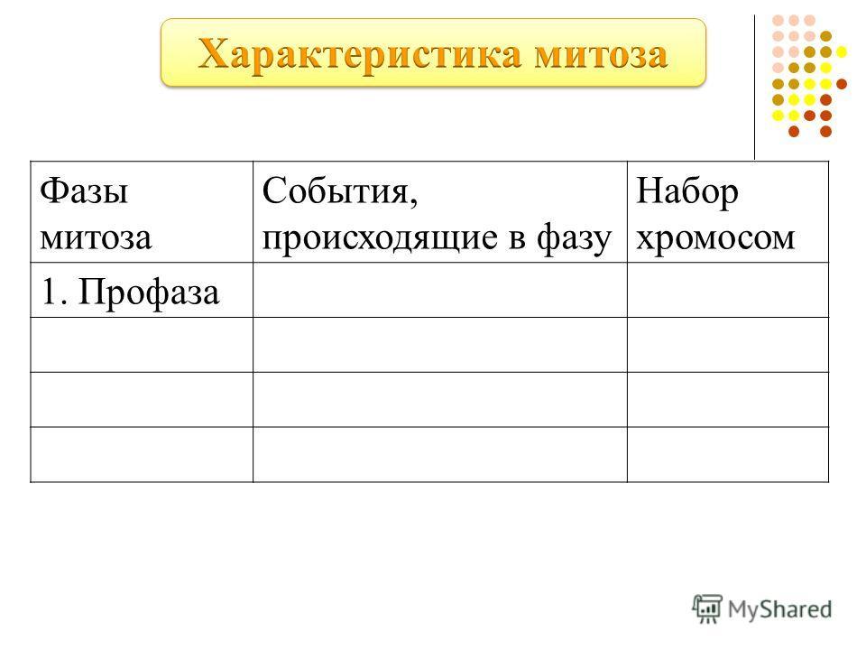 Фазы митоза События, происходящие в фазу Набор хромосом 1. Профаза