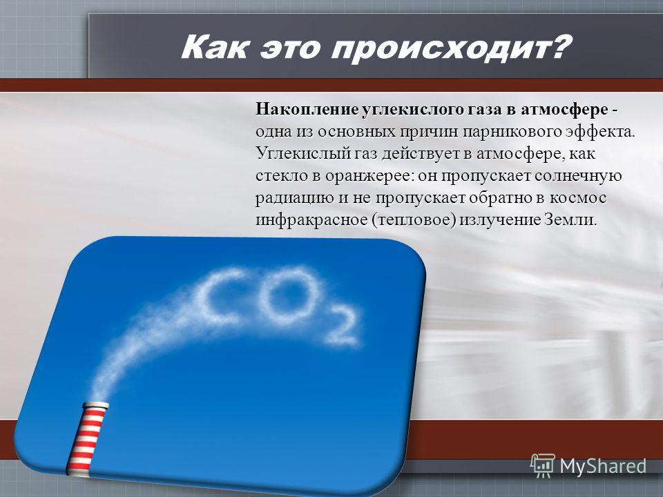Как это происходит? Накопление углекислого газа в атмосфере - одна из основных причин парникового эффекта. Углекислый газ действует в атмосфере, как стекло в оранжерее: он пропускает солнечную радиацию и не пропускает обратно в космос инфракрасное (т