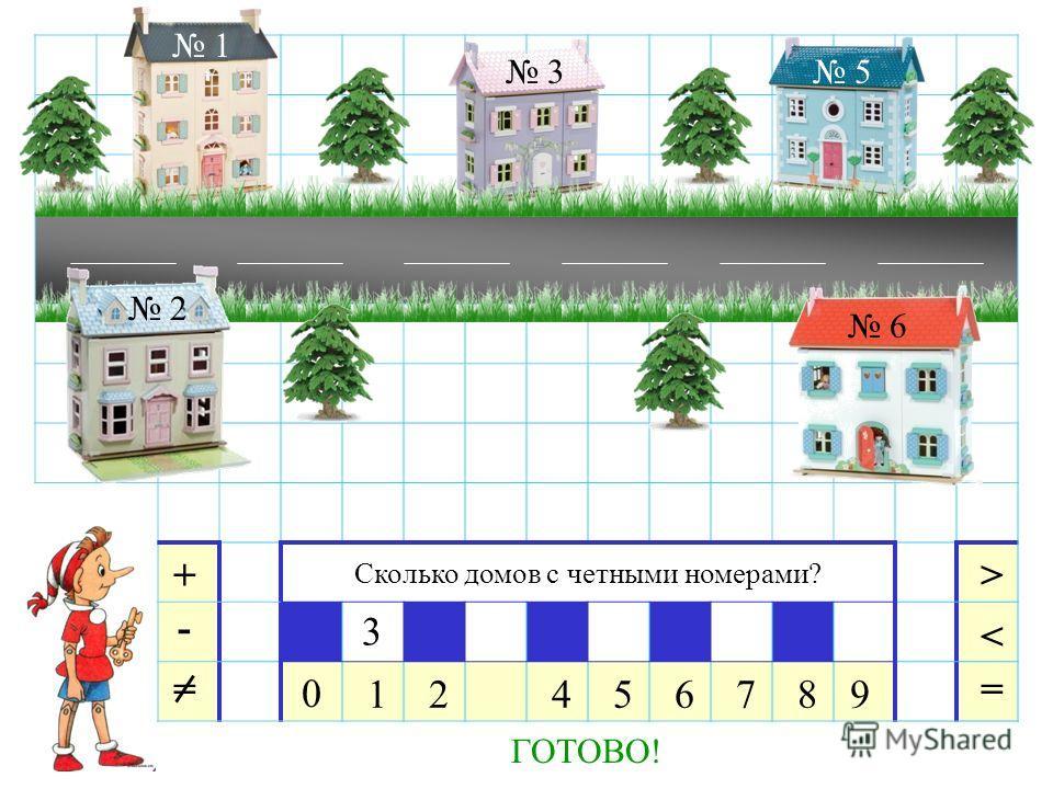 Сколько домов с четными номерами? 6 5 3 2 1 12 3 456789 0 = > < + - = ГОТОВО!