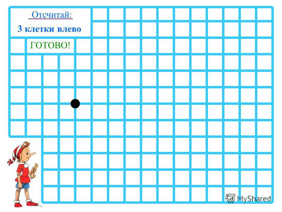 1 клетку вверх3 клетки вправо4 клетки вверх1 клетку вправо4 клетки вниз2 клетки вправо1 клетку вверх Отсчитай: 1 клетку вправо3 клетки вниз1 клетку влево1 клетку вверх2 клетки влево4 клетки вниз1 клетку влево4 клетки вверх3 клетки влево ГОТОВО!