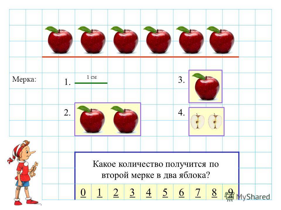 Мерка: 0123456789 Мы будем измерять количество яблок над красной чертой разными мерками. Сколько сантиметров длина красной линии по первой мерке? Какое количество получится по второй мерке в два яблока? 1. 2. 3. 4. 1 см