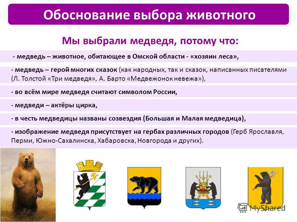 Мы выбрали медведя, потому что: - медведь – животное, обитающее в Омской области - «хозяин леса», - медведь – герой многих сказок (как народных, так и сказок, написанных писателями (Л. Толстой «Три медведя», А. Барто «Медвежонок невежа»), - во всём м