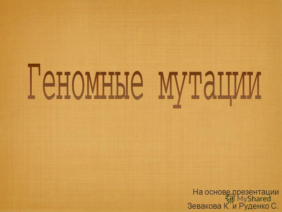 На основе презентации Зевакова К. и Руденко С.