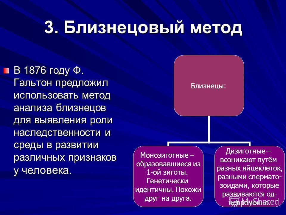 3. Близнецовый метод В 1876 году Ф. Гальтон предложил использовать метод анализа близнецов для выявления роли наследственности и среды в развитии различных признаков у человека. Близнецы: Монозиготные – образовавшиеся из 1-ой зиготы. Генетически иден