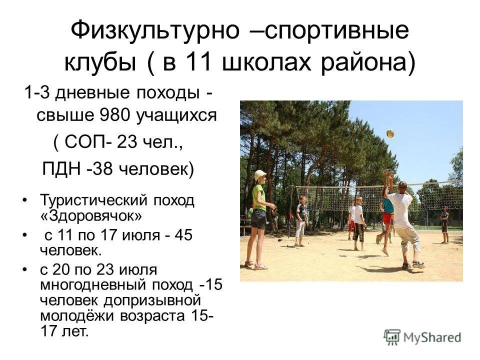Физкультурно –спортивные клубы ( в 11 школах района) 1-3 дневные походы - свыше 980 учащихся ( СОП- 23 чел., ПДН -38 человек) Туристический поход «Здоровячок» с 11 по 17 июля - 45 человек. с 20 по 23 июля многодневный поход -15 человек допризывной мо