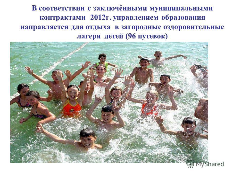 В соответствии с заключёнными муниципальными контрактами 2012г. управлением образования направляется для отдыха в загородные оздоровительные лагеря детей (96 путевок)