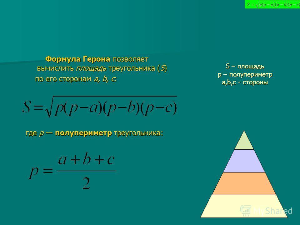 S – площадь р – полупериметр а,b,c - стороны Формула Герона позволяет вычислить площадь треугольника (S) Формула Герона позволяет вычислить площадь треугольника (S) по его сторонам a, b, c: по его сторонам a, b, c: где р полупериметр треугольника: